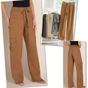 SOFT SURROUNDINGS CARAMEL WEEKEND LINEN PANTS M